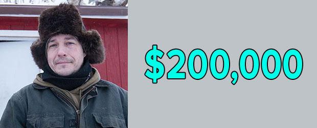 Life Below Zero Cast Chip Hailstone's net worth is $200,000 as of 2018