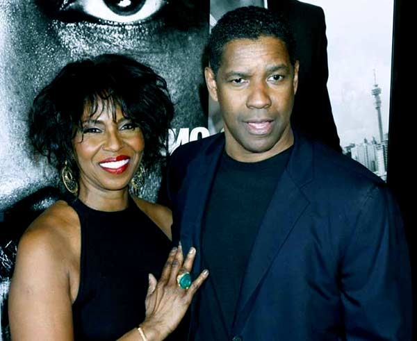 Image of Denzel Washington with his wife Pauletta Pearson